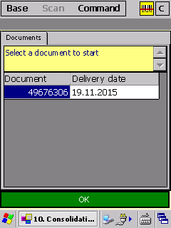 PDA, we select a document / route sheet